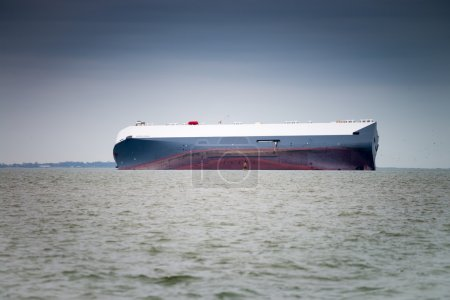 Grounded container ship