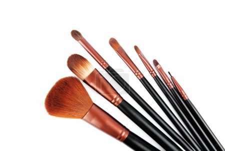 Professional brush set for makeup. Isolated on the white background