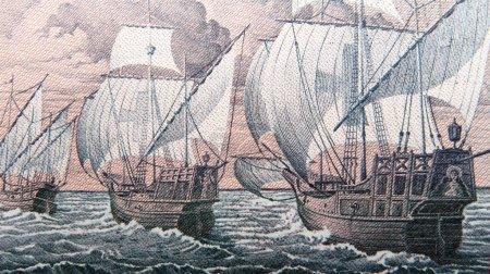 Columbus caravels, niña, pinta, santa maria, italian banknote lire