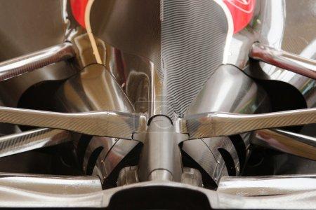MILAN, ITALY, SEPTEMBER 19, 2015: Ferrari F1 sport car aerodynamic details, Italian pavilion, world exhibition Expo 2015.