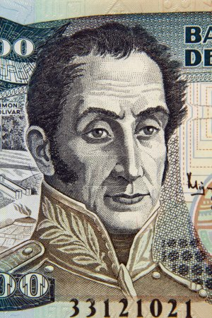 Macro photo simon bolivar portrait on the colombia...
