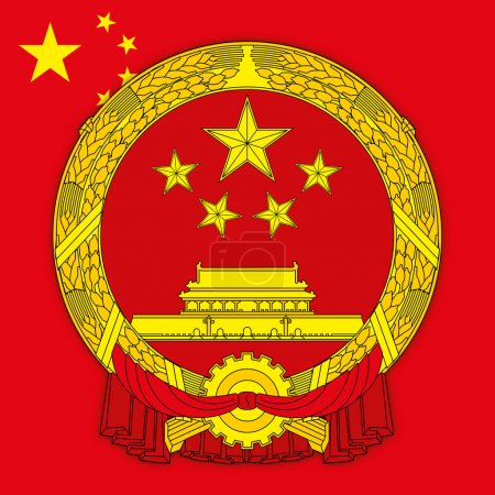 chinese people republic coat of arms and flag
