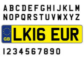 british plate sample with letters and numbers