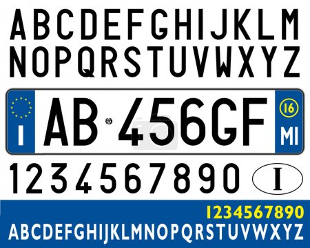 italian car plate with symbols, numbers and letters