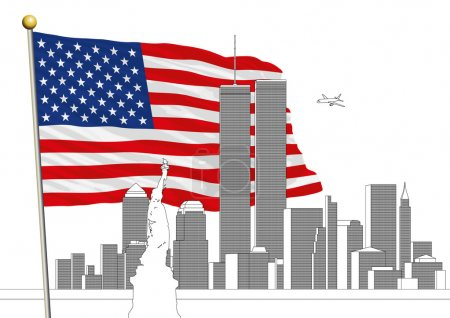 Illustration for WTC, Twin Towers and US flag, vector file, illustration US flag and WTC skyline - Royalty Free Image
