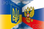 Ukraine and Russia flags