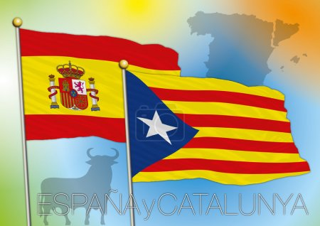 Catalonia and spain flags