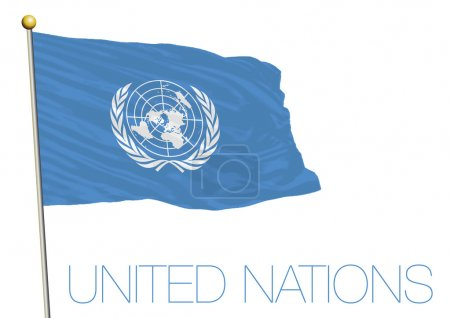 Waving flag of the United Nations isolated on white background
