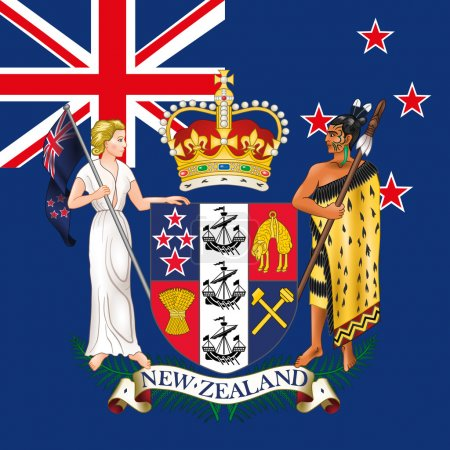 new zealand flag and coat of arm