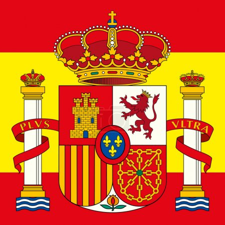 spain coat of arm and flag