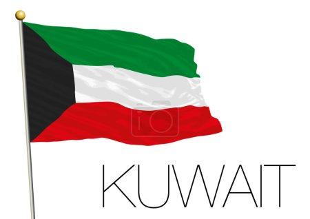 kuwait flag isolated on the white background