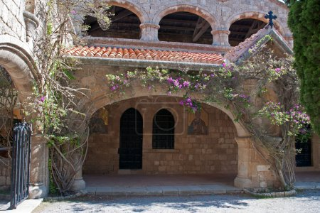 Cloisters and frescoes at Ialyssos Monastery Rhodes