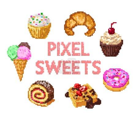 Set of pixel sweets