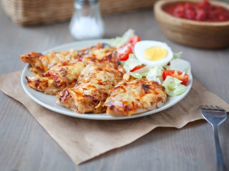 Chicken breast with a cheese crust