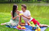 Giovane coppia felice, pic-nic allaperto vicino al lago