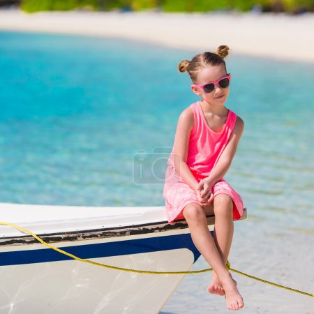 Photo for Cute little girl at beach during summer vacation - Royalty Free Image