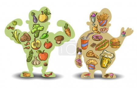 Illustration for Human thin and fat. Nutrition, diet, food on white background . Vector illustration EPS10. - Royalty Free Image