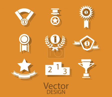 Set of white award success and victory icons