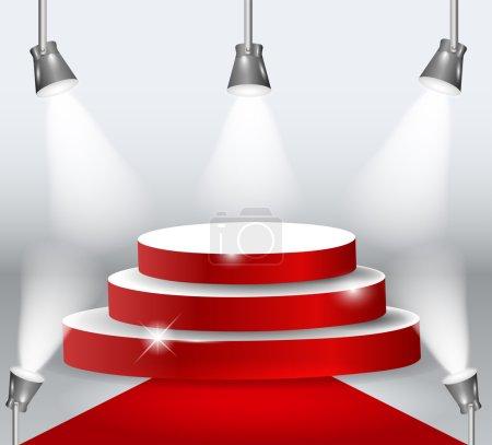 Illuminated Podium With Red Carpet.