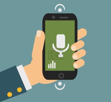 Illustration pour Téléphone portable à plat concept de technologie de commande vocale - image libre de droit