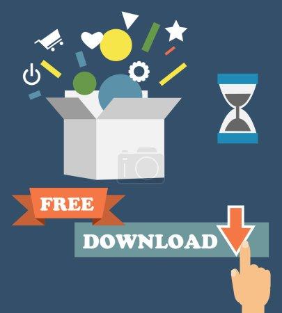 Illustration pour Infographies vectorielles représentant le modèle d'affaires freemium - gratuit et gratuit pour jouer à des applications et des jeux - payant pour des fonctionnalités et des services premium - illustration conceptuelle dans un style plat - image libre de droit