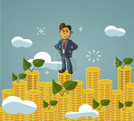 Businessman  standing on money staircase