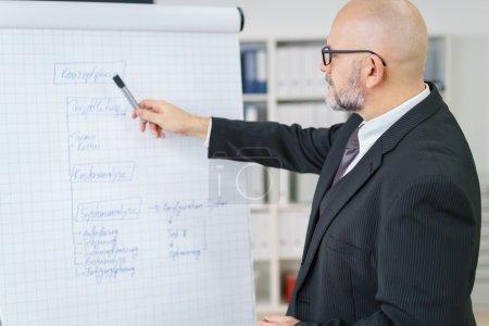 Mature businessman explaining a chart