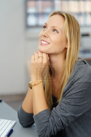 Close up Happy Thoughtful Office Woman Looking Up