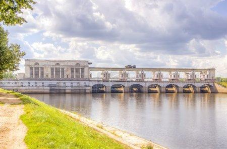 Hydroelectric panorama summer river Volga Uglich R...