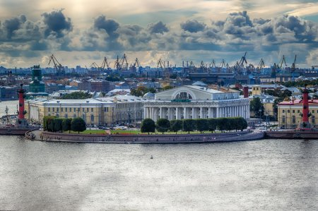 View  centre St. Petersburg  Neva river spit Vasilievsky island