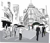 Old buildings in downtown Wellington are shown in this pen and ink style illustration with pedestrians sheltering under umbrellas in rain New Zealand