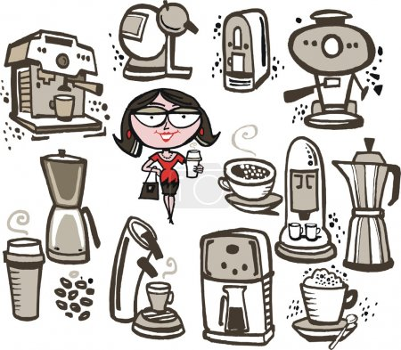 Woman with coffee machines