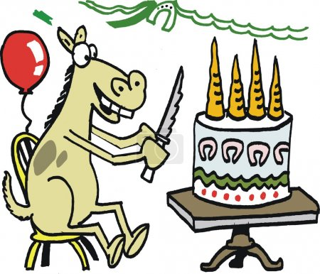 Vector cartoon of happy horse cutting birthday cake of carrots