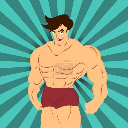 Vector of muscle man his work hard on fitness