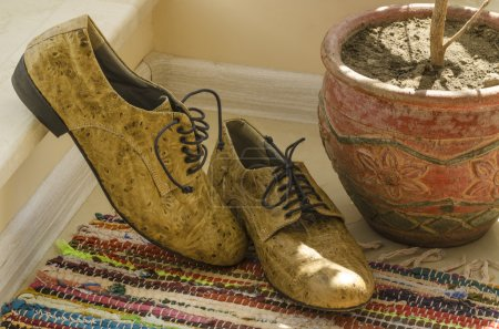 Still life with man shoes, flower pot and woven rug