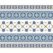 Set of Ethnic ornament pattern in blue colors Vector illustration From collection of Balto-Slavic ornaments