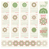 2017 Calendar with ethnic round ornament pattern in red and green colors Vector illustration From collection of Balto-Slavic ornaments