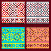 Set of Ethnic ornament pattern in different colors Vector illustration From collection of Balto-Slavic ornaments