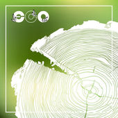 ECO poster with logo and Annual tree growth rings grayscale drawing cross-section