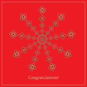 Greeting card with ethnic ornament pattern in different colors on red background Vector illustration From collection of Balto-Slavic ornaments