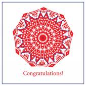 Greeting card with ethnic ornament pattern in different colors on white background Vector illustration From collection of Balto-Slavic ornaments