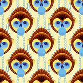 Bezešvé pattern geometricky stylizovanými opičí hlavy