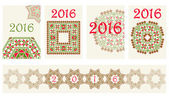 2016 Calendar cover with ethnic round ornament pattern in red and green colors Vector illustration From collection of Balto-Slavic ornaments