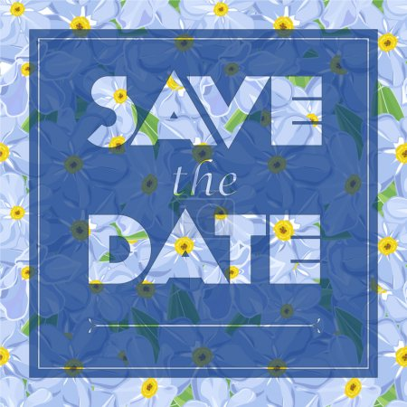 Floral greeting card with the text Save the date Seamless pattern with flower bouquet ornament