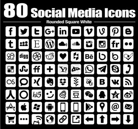 80 new rounded square social media icons