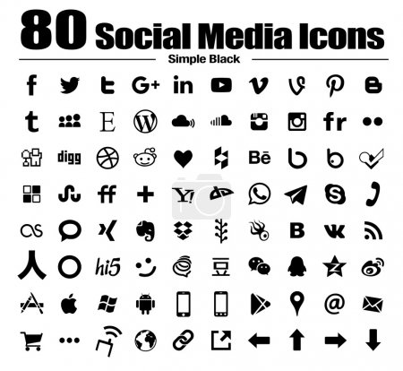 Photo for A complete collection of simple Social Media Icons set of single isolated black new icons with transparent background of the most popular social media and network websites - Royalty Free Image