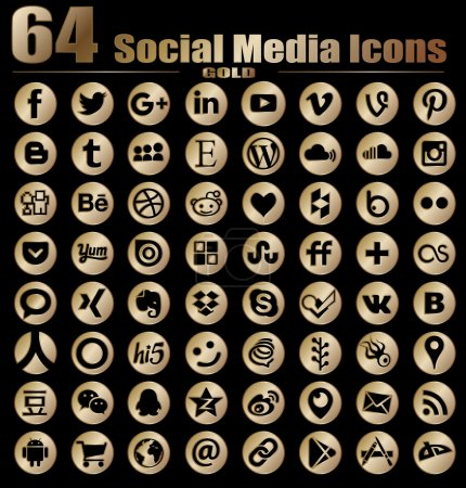 64 Round Gold Social Media Icons - Hight Quality Vector stock collection instant download