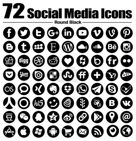 Illustration for Complete collection of elegant Round Social Media Icons. Vector iconset of single isolated black icons with transparent background of the most popular social media and network websites. Icons come as vectors, the best for web and graphic design. - Royalty Free Image