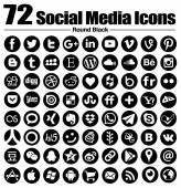 72 new Round social media icons - Vector, Black and white, transparent background - the must have complete circle icon set