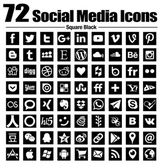 72 social media icons new simple Flat - Vector Black and white transparent background - the base collection with new last popular social logos